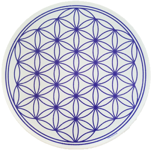 Round Energising Plate White Flower of Life