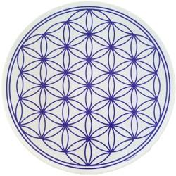 Round Energising Plate White Flower of Life