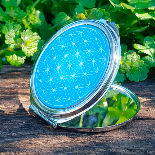 Turquoise Flower of Life Pocket Mirror