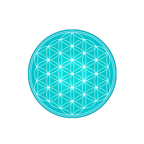 Turquoise Flower of Life Round Magnet