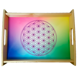 Large serving tray multicolour Flower of Life