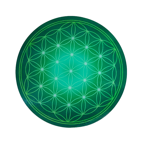 Round Energising Plate Green Flower of Life