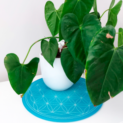 Round Energising Plate Turquoise Flower of Life