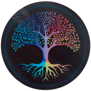 Round Energising Plate Tree of Life (black background)