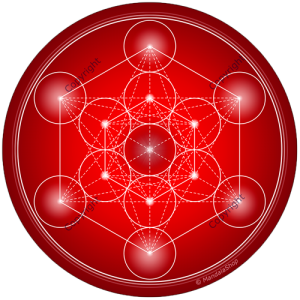 Round mouse pad Red Metatron's Cube