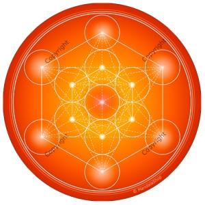 Round mouse pad Orange Metatron's Cube