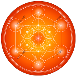 Round mouse pad Orange Metatron's Cube