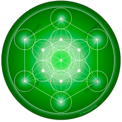 Round mouse pad Green Metatron's Cube