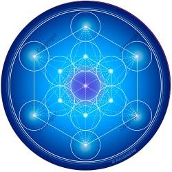 Round mouse pad Blue Metatron's Cube