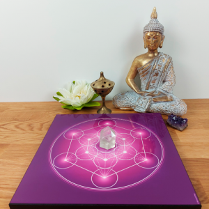 Wooden energising tray with Metatron's Cube